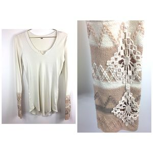 Free People Thermal With Accent Cuffs